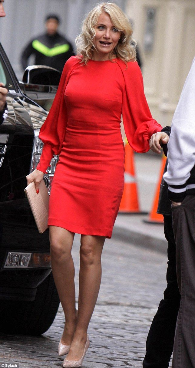 Lady in red: Cameron Diaz was pictured filming a scene on the set of The Other Woman movie in Downtown, Manhattan on Monday