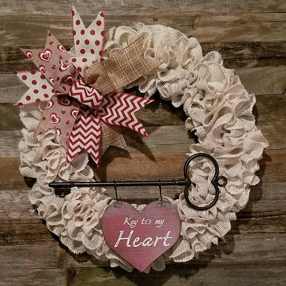 Key to my heart Valentine's day wreath Farmhouse wreath Love all these beautifully handcrafted wreaths for valentine's day. Perfect decor to add a little bit of seasonal love to your front door, porch, or patio. Love this rustic farmhouse wreath idea.#rustic #farmhouse  #wreath #vday #valentinesday #afflink