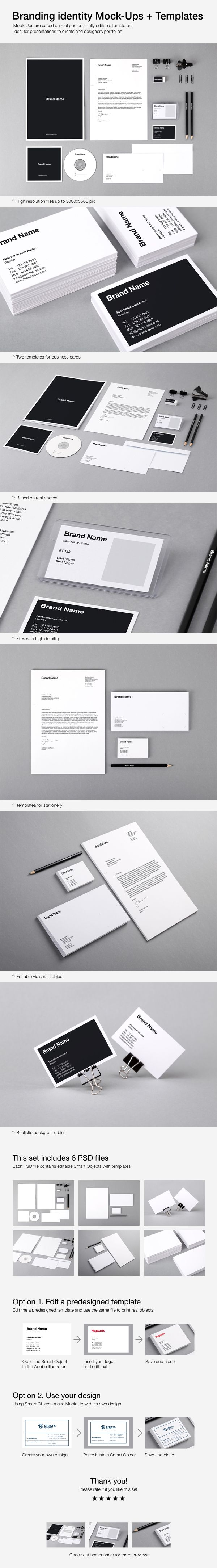 Branding Identity Mock-Ups and Templates by Vitaly Stepanenko on Behance. #mockups #brand #identity