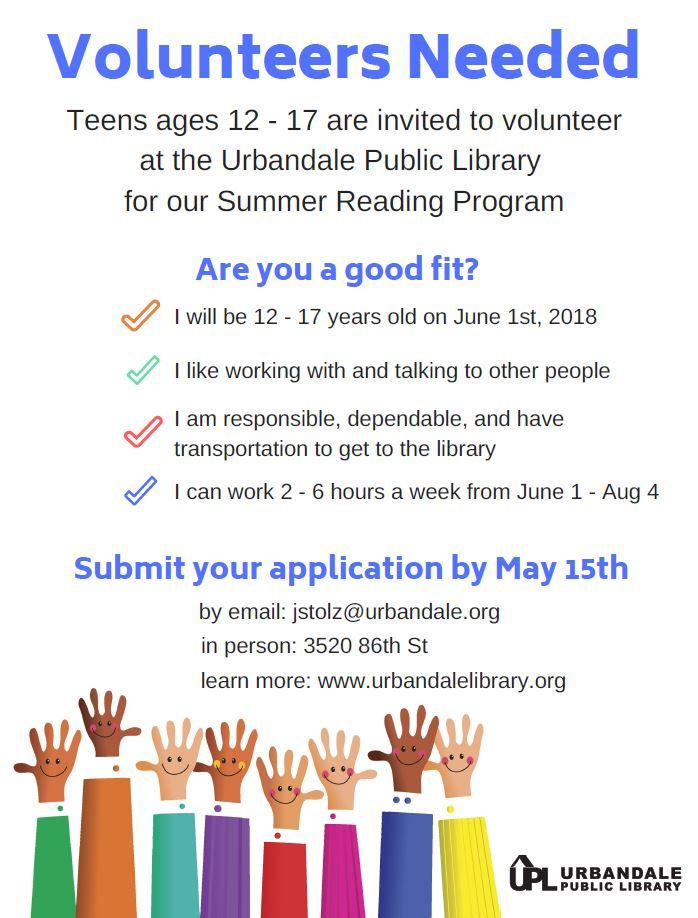 Teens ages 12-17 are invited to apply to join our team of Summer - resume library