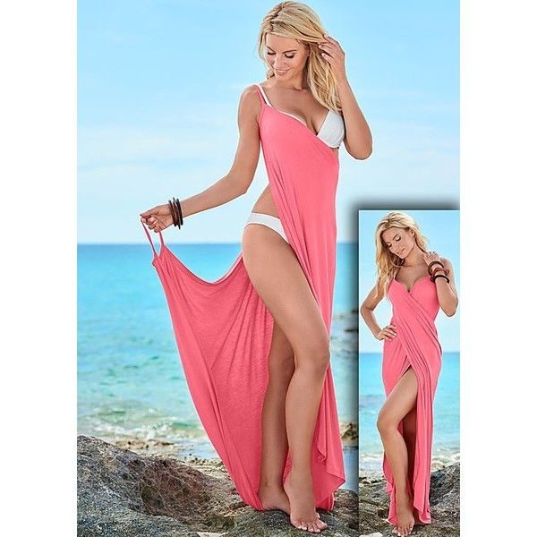Venus Women's Wrap Maxi Dress Cover-Up ($23) ❤ liked on Polyvore featuring swimwear, cover-ups, venus swimwear, venus cover ups, maxi swim cover up, cover up swimwear and swim wrap cover up