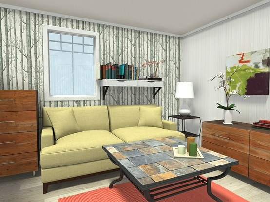 3d Floor Plan For A Living Room Decorated In Traditional