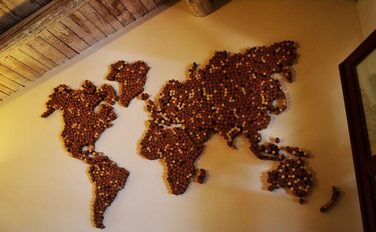 wine cork world map