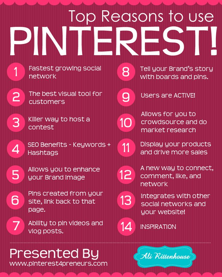 Top Reasons to Use Pinterest. #Infographic