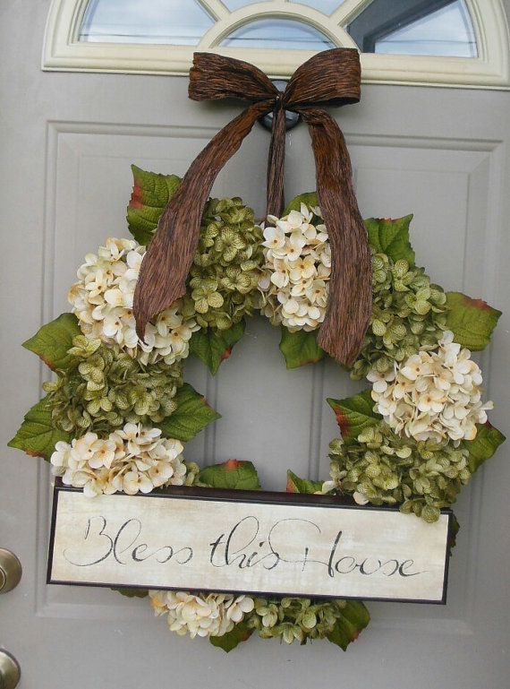 Spring+Hydrangeas+Front+Door+Wreaths+Traditional+Wreaths+by+bndd,+$110.00