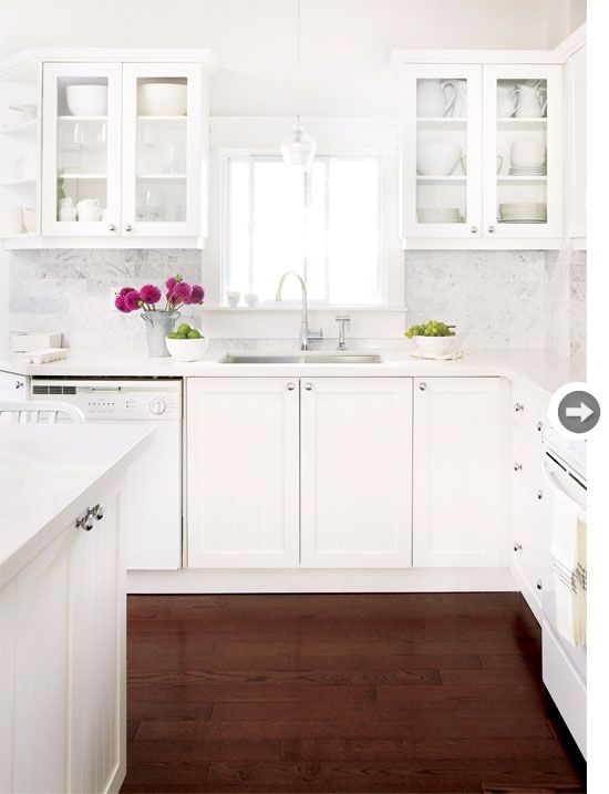 all #whitekitchen with dark floors