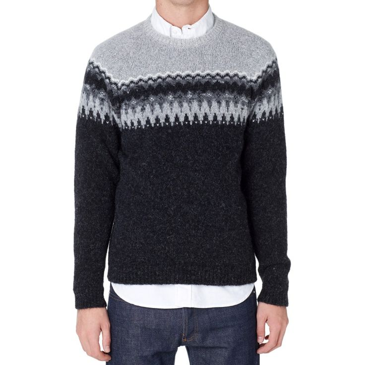 Norse Projects Birnir Fair Isle Alpaca Knit (Charcoal Melange ...
