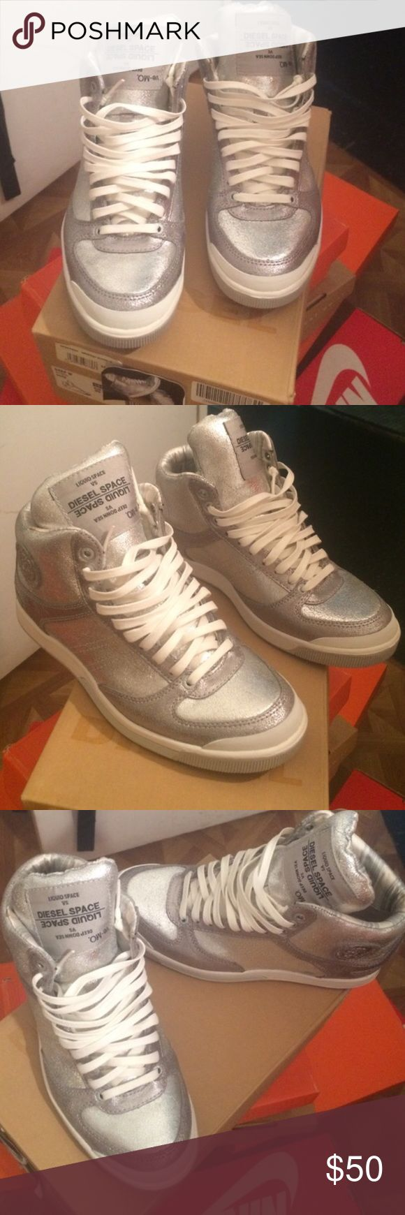 Rare Diesel Silver White High Sneaker Rare Diesel Silver White High Sneaker. BRAND NEW. NEVER WORN. No Trades.🛑🛑I ship only Sneakers. I do not ship the sneaker box.🛑🛑 Diesel Shoes Sneakers