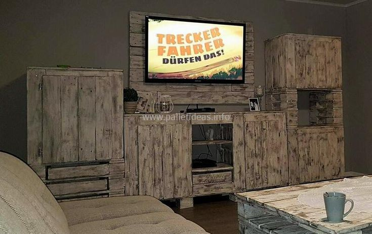 pallets made vintage media console