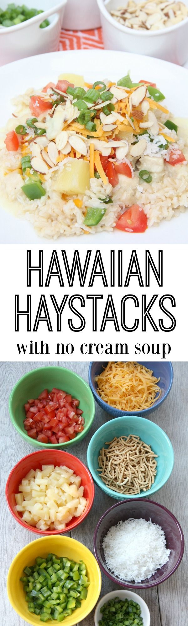 Hawaiian Haystacks with a homemade chicken gravy with no cream soup. It's a family favorite recipe that everyone loves!