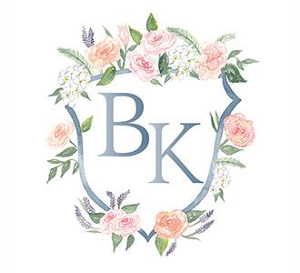 Family crest heraldry initials monogram shield floral logo B K Crest for Logo use, by Lemontree Calligraphy and Illustration