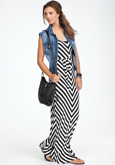 bebe | Boardwalk Babe - View All - Stripe Maxi Dress - Denim Vest - Arina Metal Cylinder Flat Sandal - Logo Monogram Crossbody
