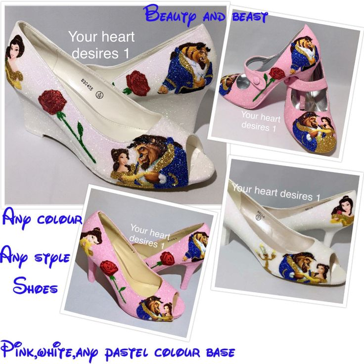 Beauty And The Beast Disney Wedding Prom Cosplay Shoes Pastal Custom Colours