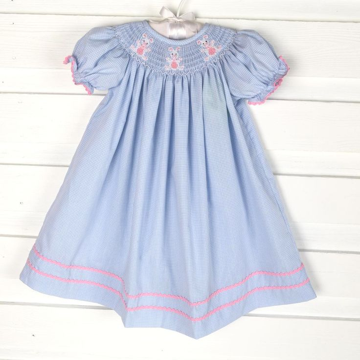 Precious light blue small check dress with 3 smocked bunnies. Perfect for Easter!