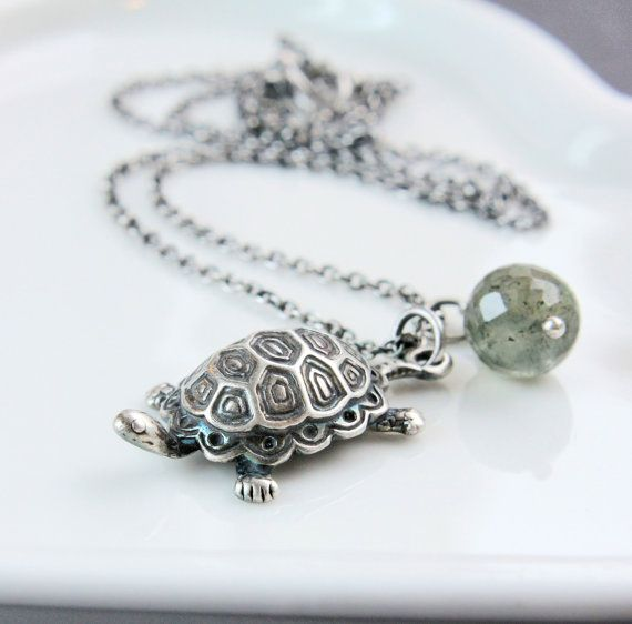 Charm Necklace    Oxidized Silver  Turtle Pendant  Charm by Hildes