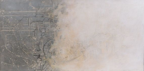 """Large 24x48"""" light & metaphysical character abstract painting. Original acrylic and oil on high quality canvas. Misty moments 1"""