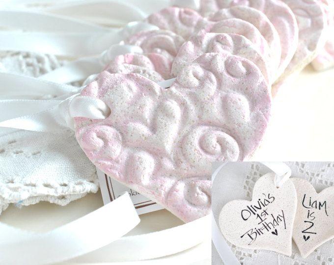 Personalized Salt Dough Imprinted Heart Ornaments Baby Shower / Baptism Set of 10