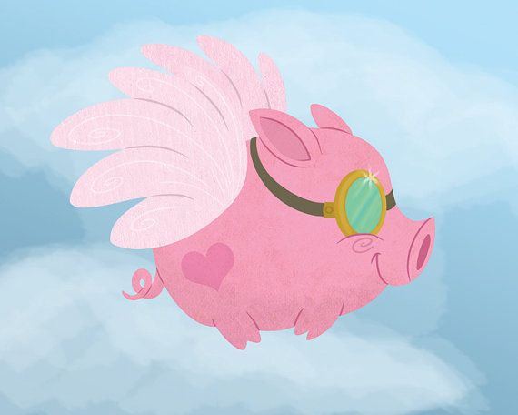 Pink Flying Pig with Goggles