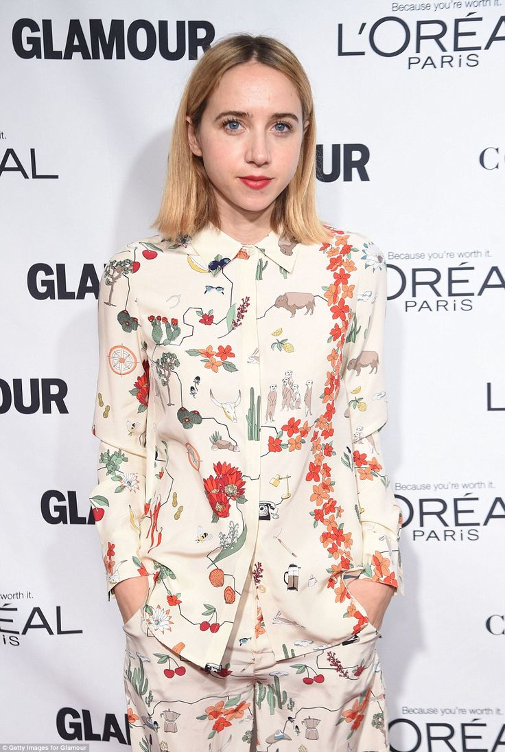 Fabulous floral: Actress Zoe Kazan wore an unusual patterned shirt and wide leg trouser ensemble