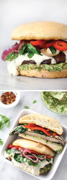 An avocado chimichurri in place of mayo flavors this Portobello Mushroom Burger with Smoked Mozzarella   foodiecrush.com