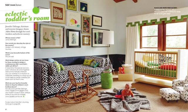 I love the eclectic style in this room!: Ideas, Couch, Nurseries, Colors, Kids Room, Kidsroom, Kid Rooms, Baby Room, Gallery Wall