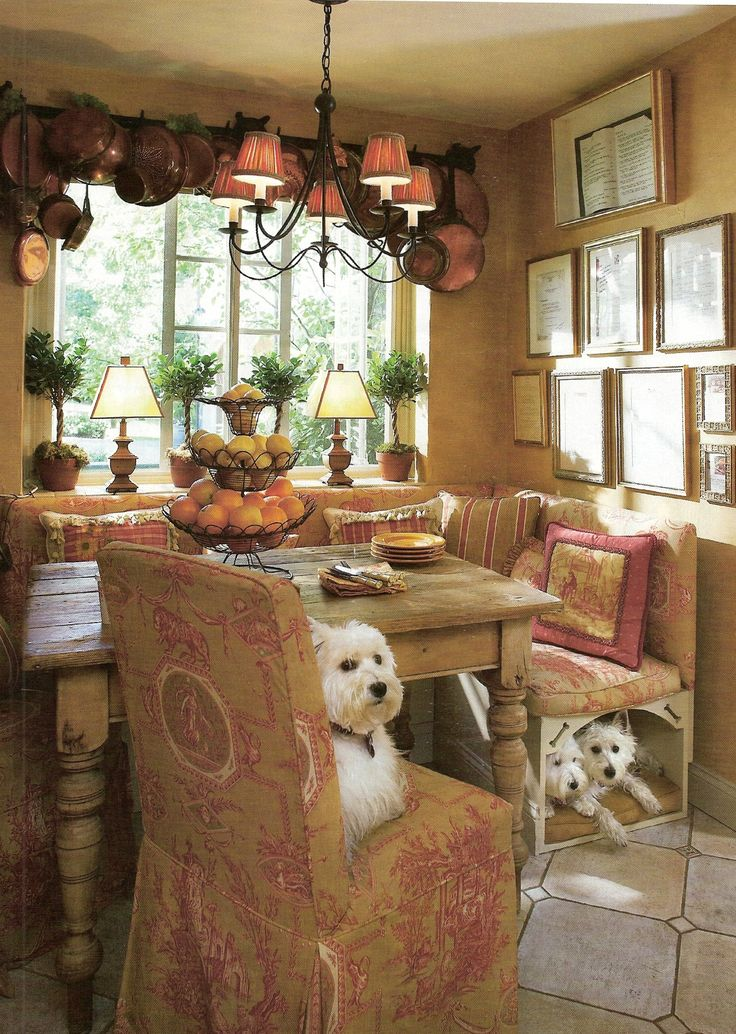 Chris Madden: Another view of our pet banquette & our kitchen with our Westies Lola, Winne & Teddy. Photo (C) Nancy E. Hill: Dogs Beds, Dining Rooms, Westie, Banquette, Benches, Breakfast Nooks, Kitchens Nooks, Dining Nooks, French Country Kitchens