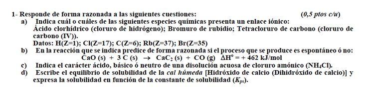 Ejercicio 1, propuesta 2, SETIEMBRE 2010-2011. Examen PAU de Química de Canarias. Temas: estructura atómica.