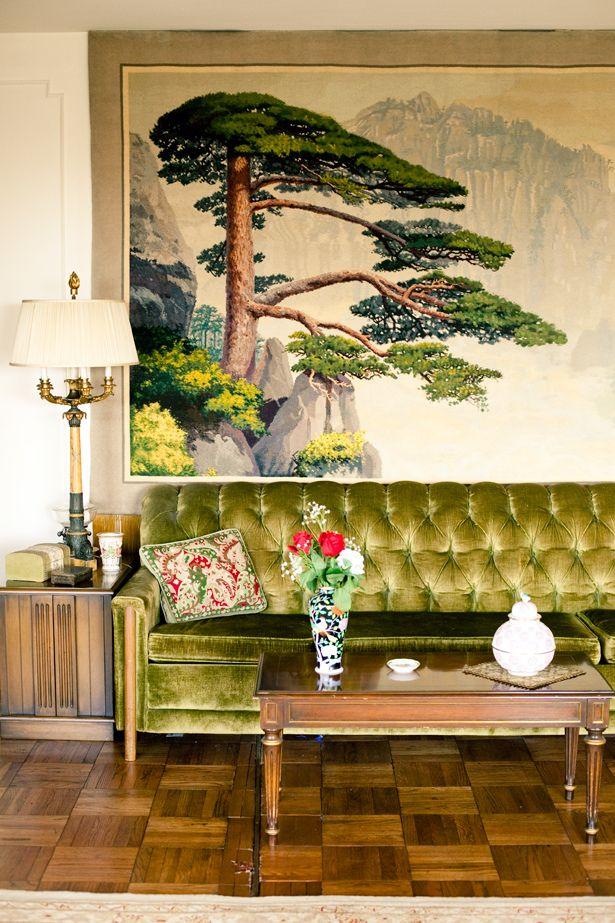 green art and sofa