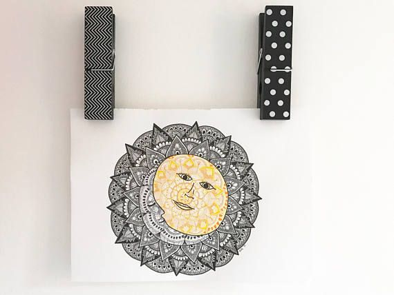 Sun and Moon Mandala Print - - A3 size 42cm W x 29.7cm L 16.5 x 11.7 inches - - This is a print, copied from my original drawing onto 200gsm A3 card. It is shipped in a mailing tube.