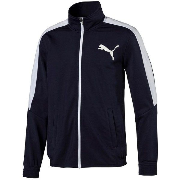 Men's PUMA Colorblock Track Jacket ($48) ❤ liked on Polyvore featuring men's fashion, men's clothing, men's activewear, men's activewear jackets, blue, mens track jacket, mens activewear and mens track tops