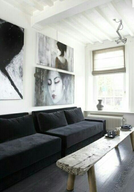 Black white and grey with paintings