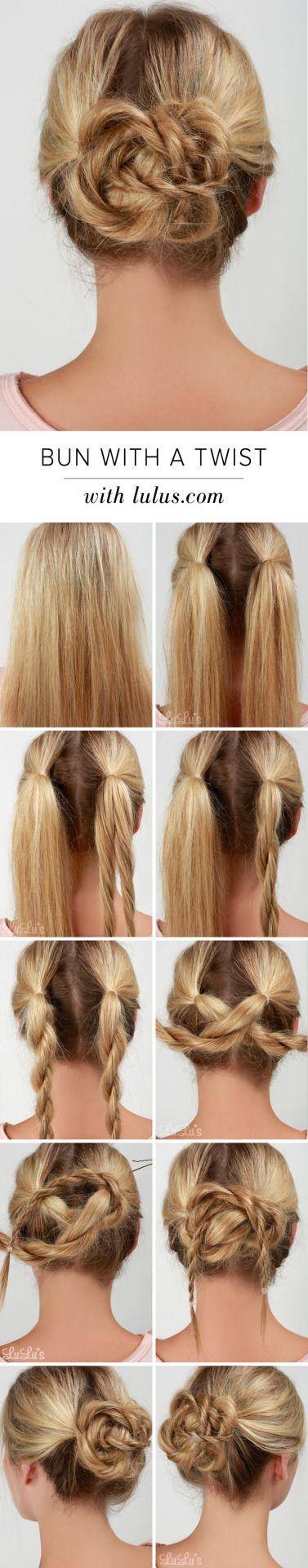 Bun with a Twist Hair Tutorial