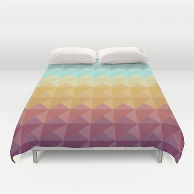 Retro Triangles Duvet Cover by Refreshdesign