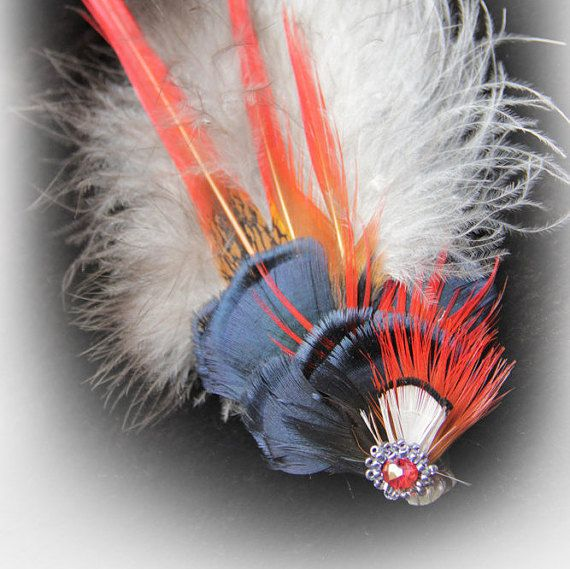 Red Blue Feather Hair Clip Feather Hair Clip Steampunk by Nastasy