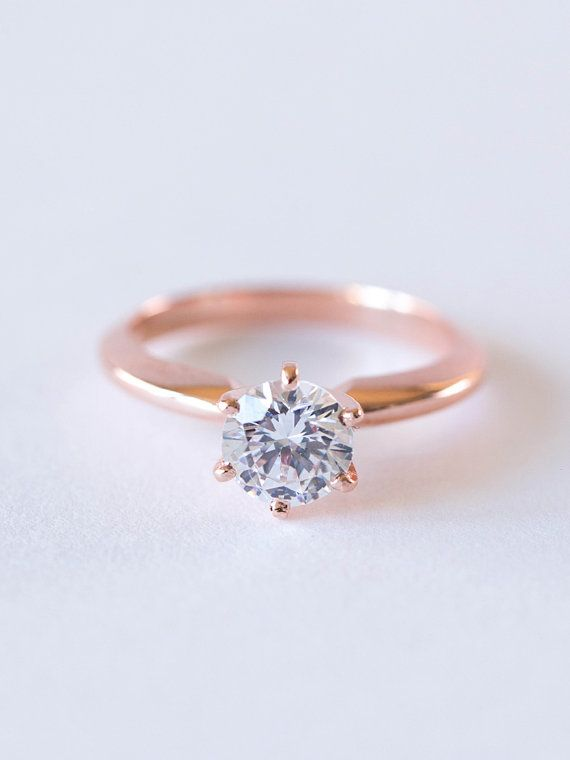 Bague de fiançailles diamant Solitaire ronds  Six par DavieandChiyo
