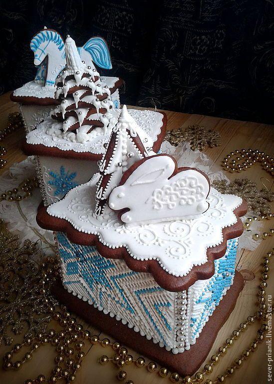 Купить Новогодняя пряничная шкатулка - пряники, пряник расписной, пряничные игрушки, имбирное печенье