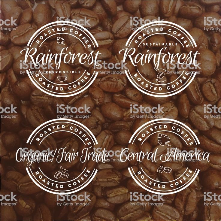 Set Of Assorted Roasted Coffee Round Labels On Coffee Bean