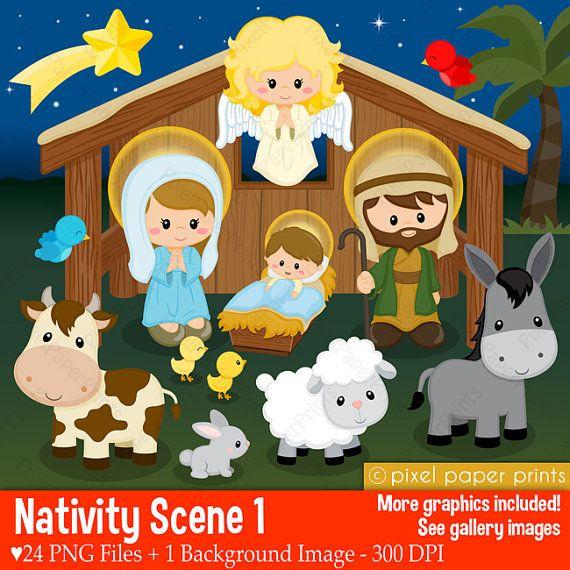 Nativity Scene 1  Clip art and digital paper set  Nativity