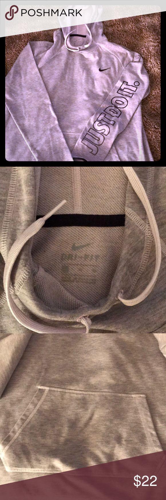 Nike grey women's Hoodie size L/XL EOC Size L/XL Grey with navy trim  Very comfy kangaroo pocket Nike Tops Sweatshirts & Hoodies