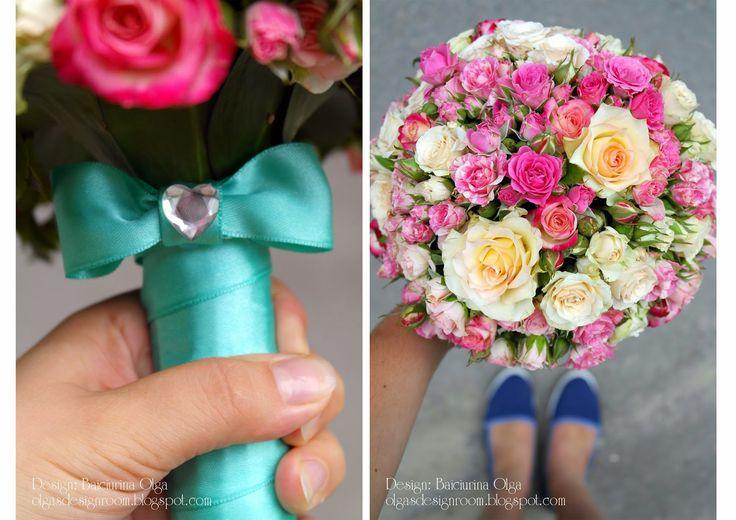 Baiciurina Olga's Design Room: Little roses Pink&Mint tender wedding bouquet-Милый букет невесты из маленьких розочек.