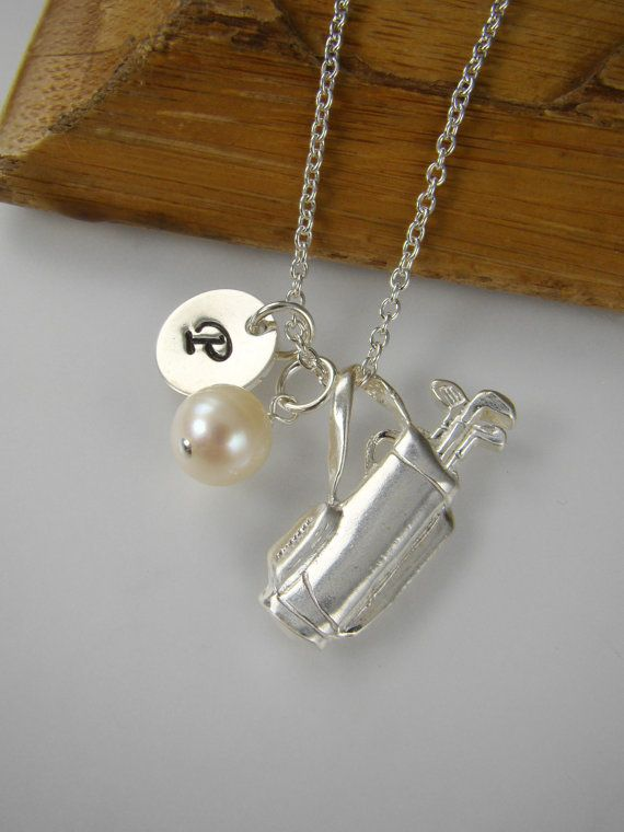 A Golf Lover's Dream: Golf Necklace Personalized Golfer Jewelry by ShinyLittleBlessings, $36.00
