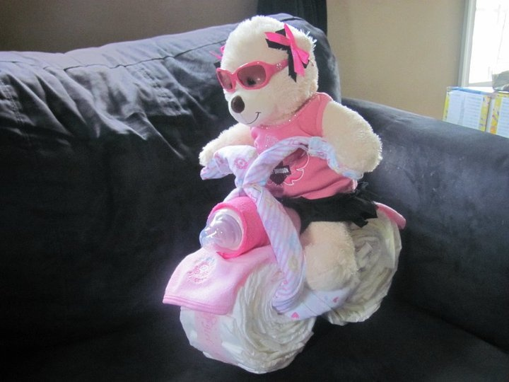 motorcycle diaper cake (diaper cakes by dc on facebook): Motorcycles Diapers Cakes, Cakes Diapers, Motorcycle Diaper Cakes