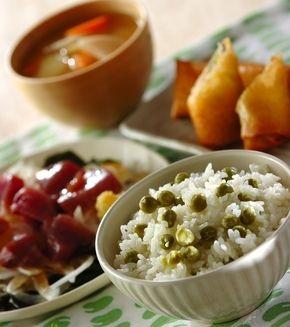 グリンピースご飯」の献立・レシピ - 【E・レシピ】料理のプロが作る ... グリンピースご飯の献立