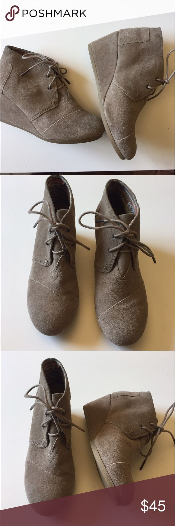 NEW Toms Desert wedges taupe suede size 8.5 Toms Desert wedge taupe suede brand new size 8.5 Toms Shoes Wedges
