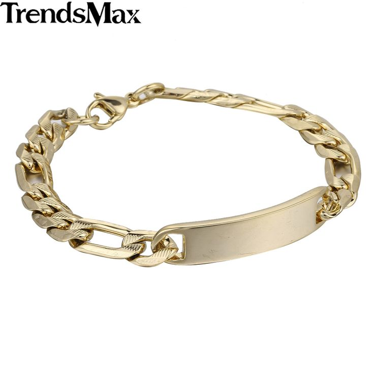 Trendsmax (ID Engraving Service) 6/8/11mm Mens Chain Gold Silver Color Stainless Steel Hammered Figrao Link ID Bracelet KB450