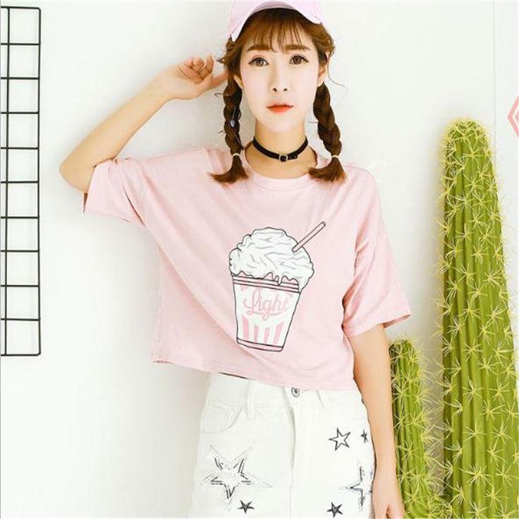 Веселые Довольно летом 2017 новый Harajuku женщины футболка мороженое корейский стиль хлопок свободные растениеводство топы kawaii футболка женщины ти топы купить на AliExpress