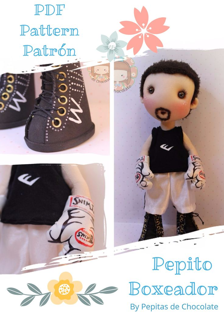 Patrón muñeco Pepito Boxeador 35 cm. Pattern Pepito Doll 13'' de PepitasdeChocolate en Etsy