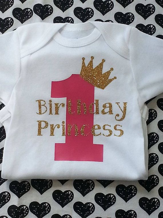 First birthday bodysuit ,Princess first birthday shirt, pink and gold birthday shirt, Birthday shirt,birthday outfit. To order visit  Teranika and Co. on Facebook