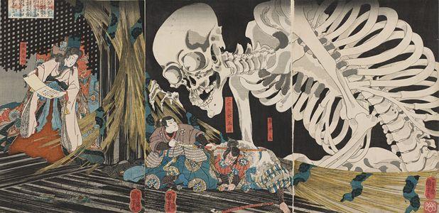歌川国芳《相馬の古内裏に将門の姫君 瀧夜叉妖術を以て味方を集むる大宅太郎光国妖怪を試さんと爰に来り竟に是を亡ぼす》弘化元年(1844)頃 Museum of…