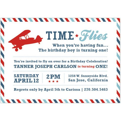 Airplane Birthday Party Printable Invitation - Time Flies by I Heart to Party